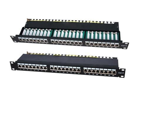 "Patchpanel  19"" cat.5e, 24xRJ45-1HU, ecranat, suport de cabluri integrat, LanKATT (full shielded)"